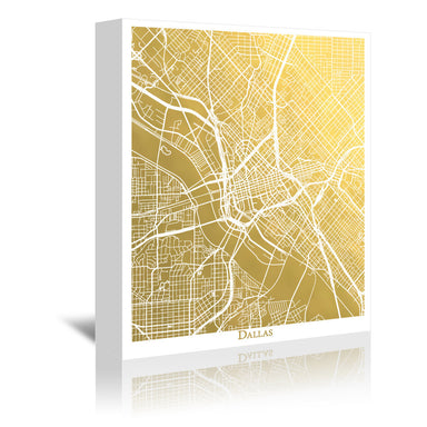 Dallas by The Gold Foil Map Company Wrapped Canvas - Wrapped Canvas - Americanflat