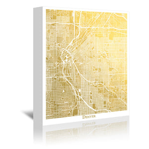 Denver by The Gold Foil Map Company Wrapped Canvas