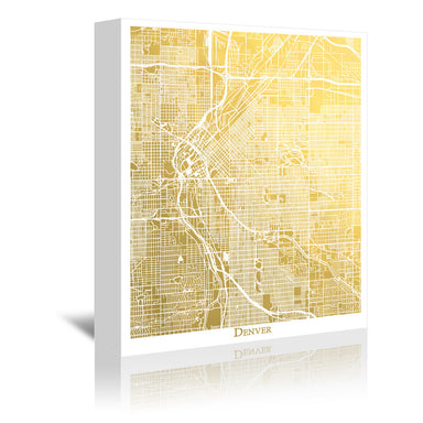 Denver by The Gold Foil Map Company Wrapped Canvas - Wrapped Canvas - Americanflat