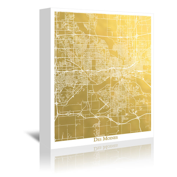 Des Moines by The Gold Foil Map Company Wrapped Canvas