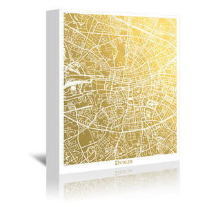Dublin by The Gold Foil Map Company Wrapped Canvas