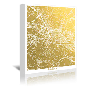 Florence by The Gold Foil Map Company Wrapped Canvas