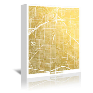 Fort Worth by The Gold Foil Map Company Wrapped Canvas