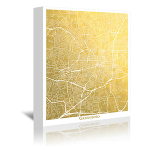 Greensboro by The Gold Foil Map Company Wrapped Canvas