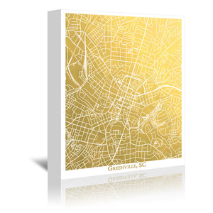 Greenville SC by The Gold Foil Map Company Wrapped Canvas