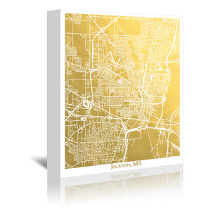 Jackson Mississippi by The Gold Foil Map Company Wrapped Canvas