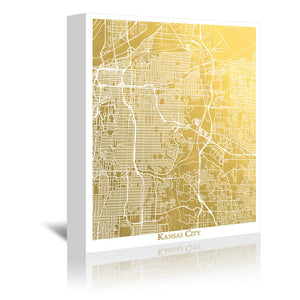 Kansas City by The Gold Foil Map Company Wrapped Canvas