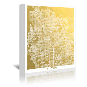 Las Vegas by The Gold Foil Map Company Wrapped Canvas