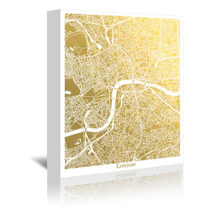 London by The Gold Foil Map Company Wrapped Canvas