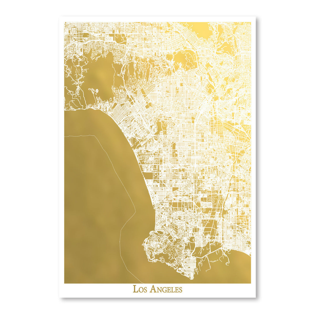 Los Angeles by The Gold Foil Map Company Art Print - Art Print - Americanflat