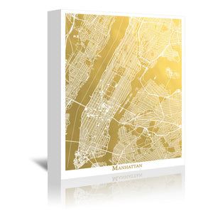 Manhattan by The Gold Foil Map Company Wrapped Canvas