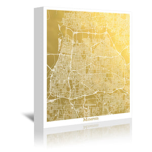 Memphis by The Gold Foil Map Company Wrapped Canvas