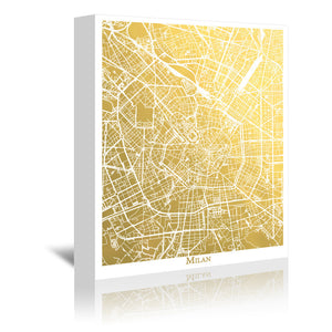Milan by The Gold Foil Map Company Wrapped Canvas