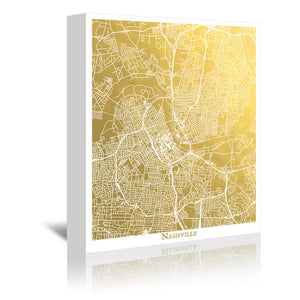 Nashville by The Gold Foil Map Company Wrapped Canvas