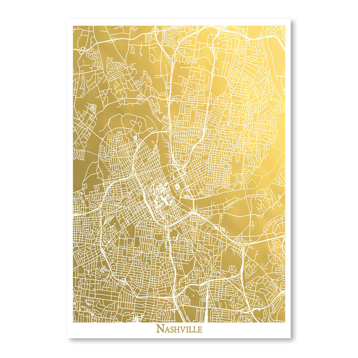 Nashville by The Gold Foil Map Company Art Print - Art Print - Americanflat