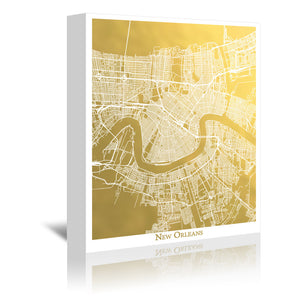 New Orleans by The Gold Foil Map Company Wrapped Canvas