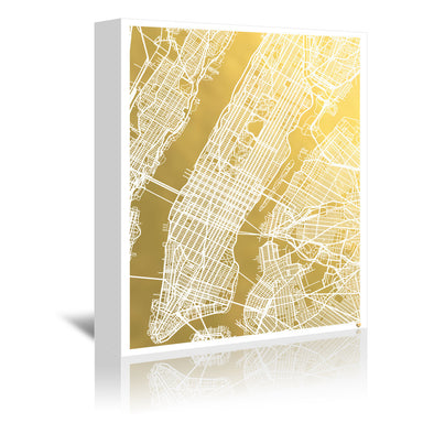 New York City 2 by The Gold Foil Map Company Wrapped Canvas - Wrapped Canvas - Americanflat
