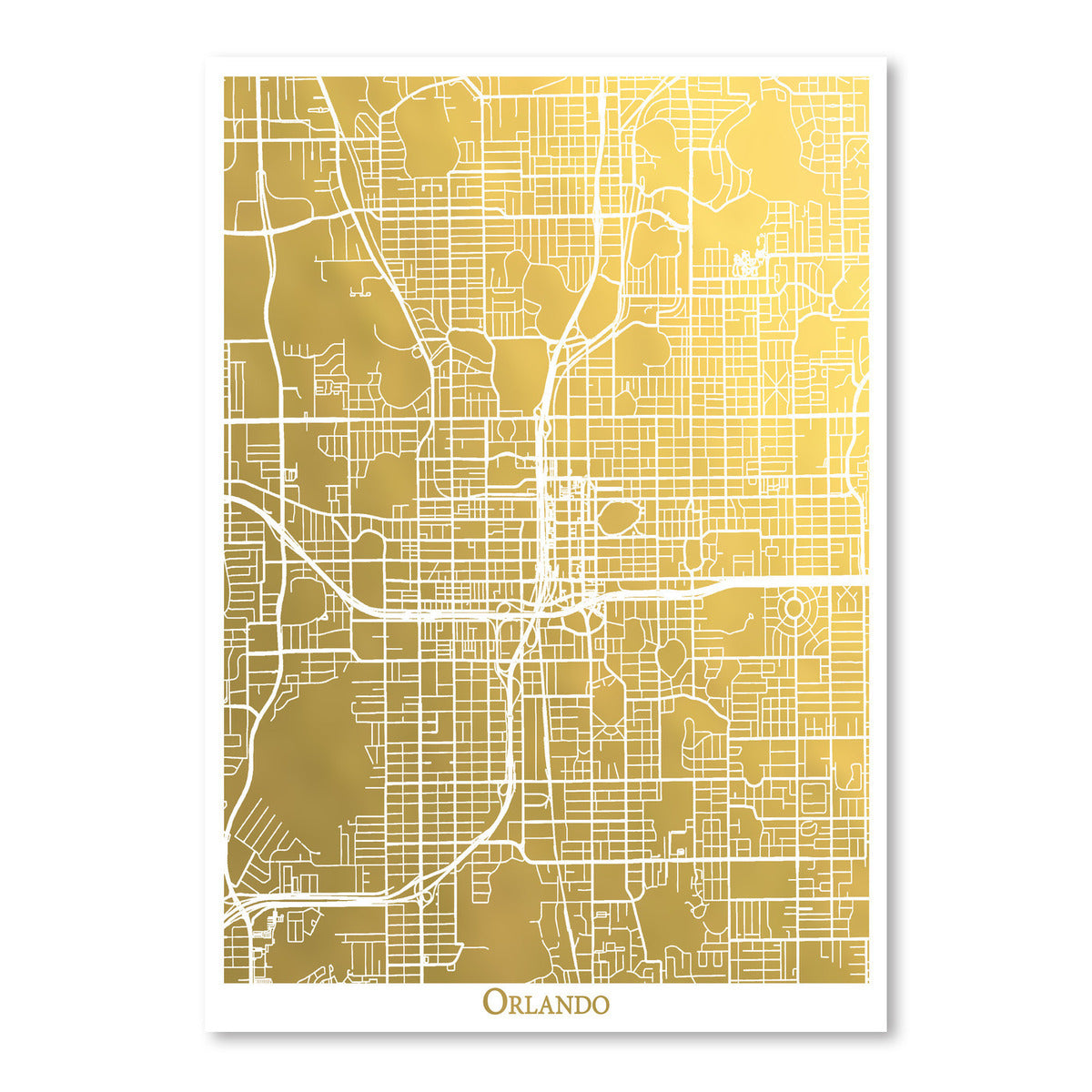 Orlando by The Gold Foil Map Company Art Print - Art Print - Americanflat