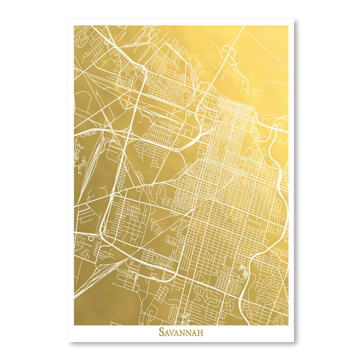 Savannah by The Gold Foil Map Company Art Print - Art Print - Americanflat