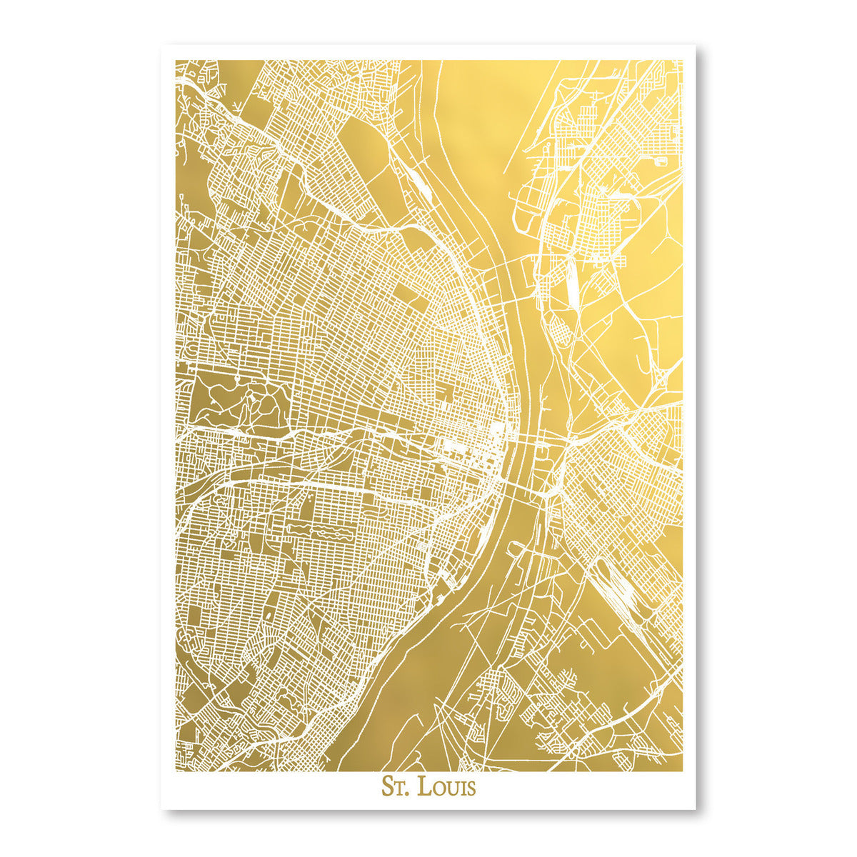 St Louis by The Gold Foil Map Company Art Print - Art Print - Americanflat