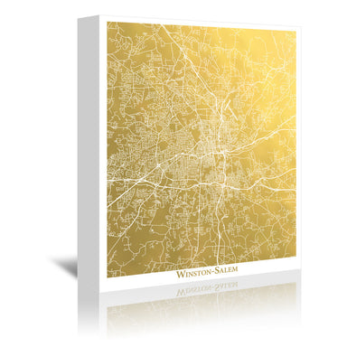 Winston Salem by The Gold Foil Map Company Wrapped Canvas - Wrapped Canvas - Americanflat