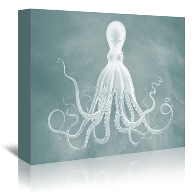 Dark Sea Foam Octopus by Coastal Print & Design Wrapped Canvas - Wrapped Canvas - Americanflat