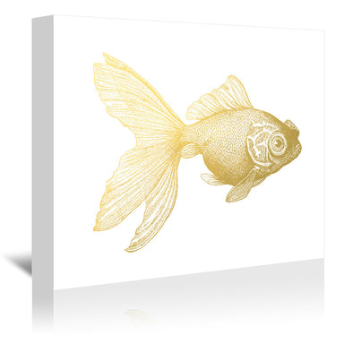 Goldy The Gold Fish by Coastal Print & Design Wrapped Canvas - Wrapped Canvas - Americanflat