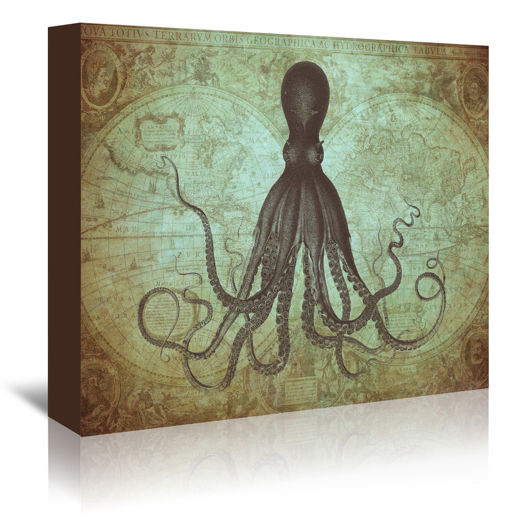 Gorgeous Green Octopus Map by Coastal Print & Design Wrapped Canvas - Wrapped Canvas - Americanflat