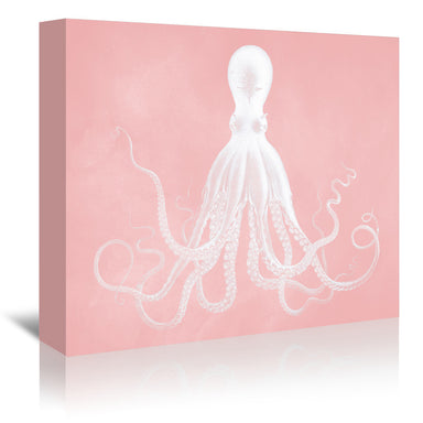 Millennial White Octopus by Coastal Print & Design Wrapped Canvas - Wrapped Canvas - Americanflat