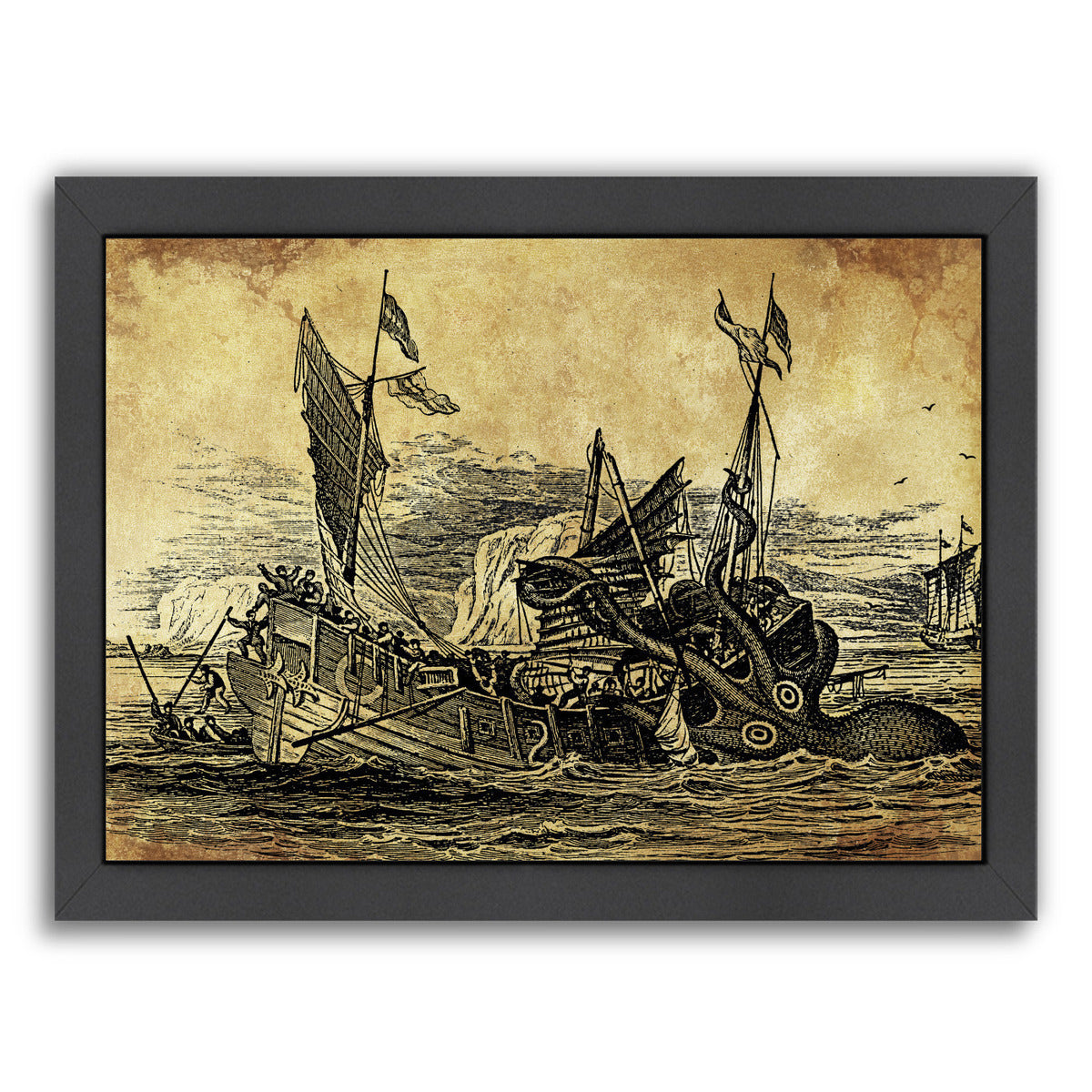 Vintage Kraken New by Coastal Print & Design Framed Print - Wall Art - Americanflat