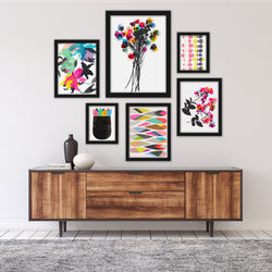 Colorful Abstract Contemporary Florals Framed Art Set