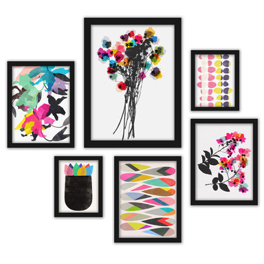 Colorful Abstract Contemporary Florals Framed Art Set - Art Set - Americanflat
