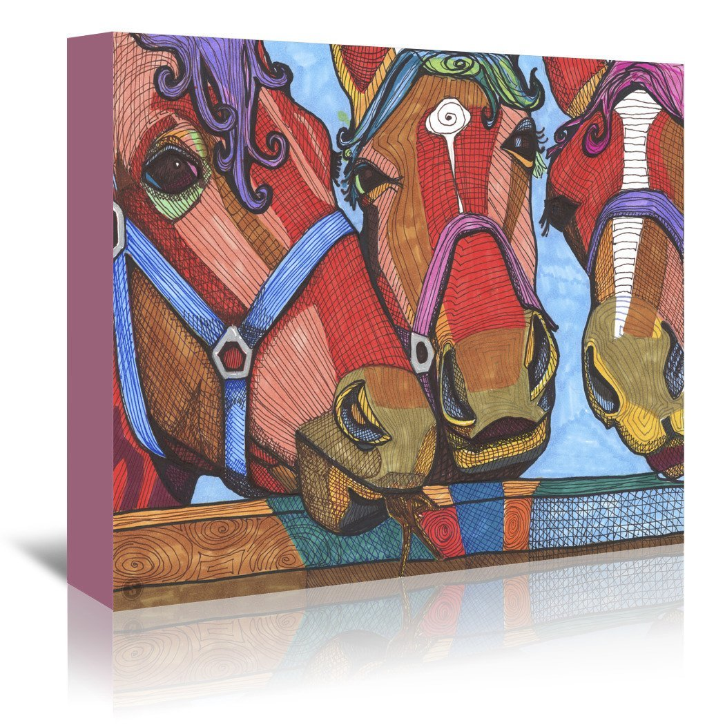 3 Horses Lena & Joanna by Solveig Studio Wrapped Canvas - Wrapped Canvas - Americanflat