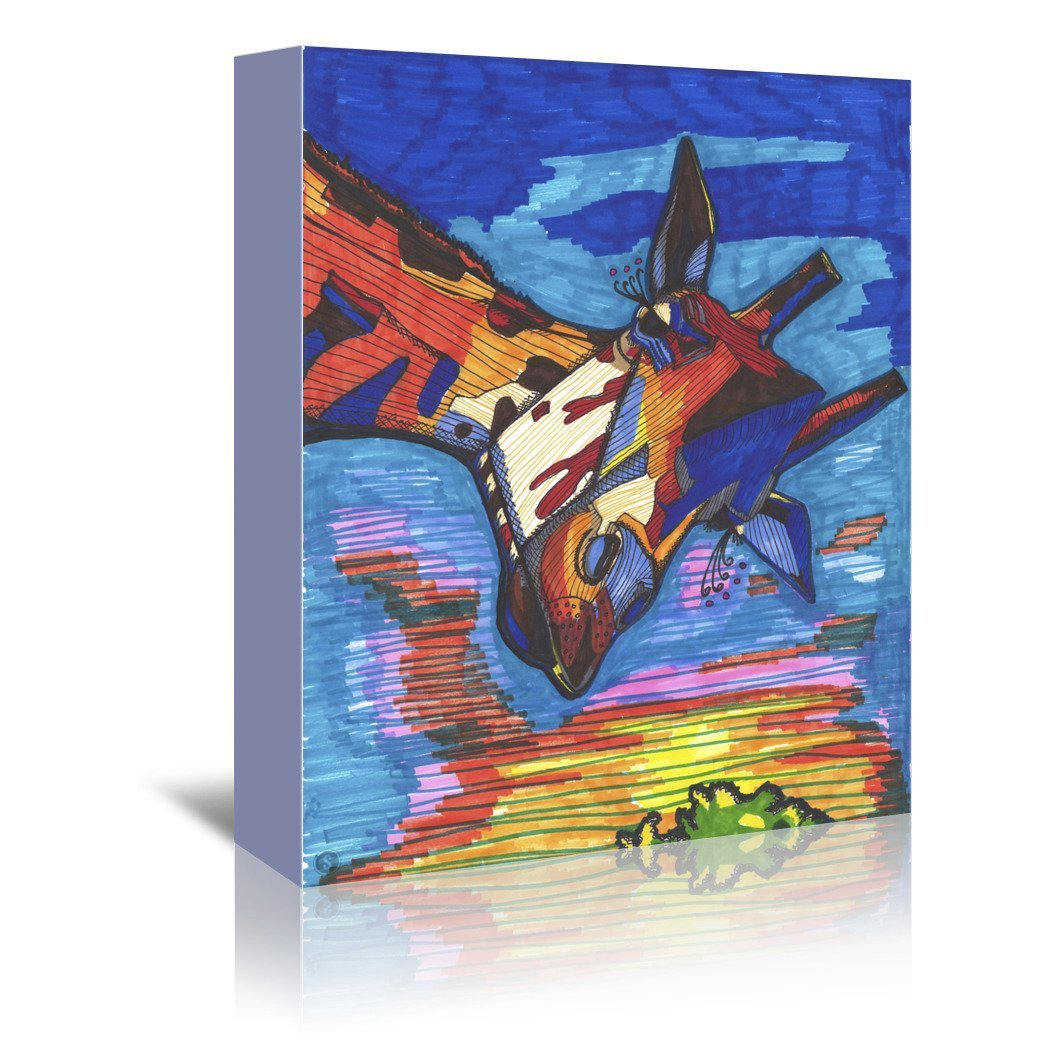 Blue Giraffe Jorge by Solveig Studio Wrapped Canvas - Wrapped Canvas - Americanflat