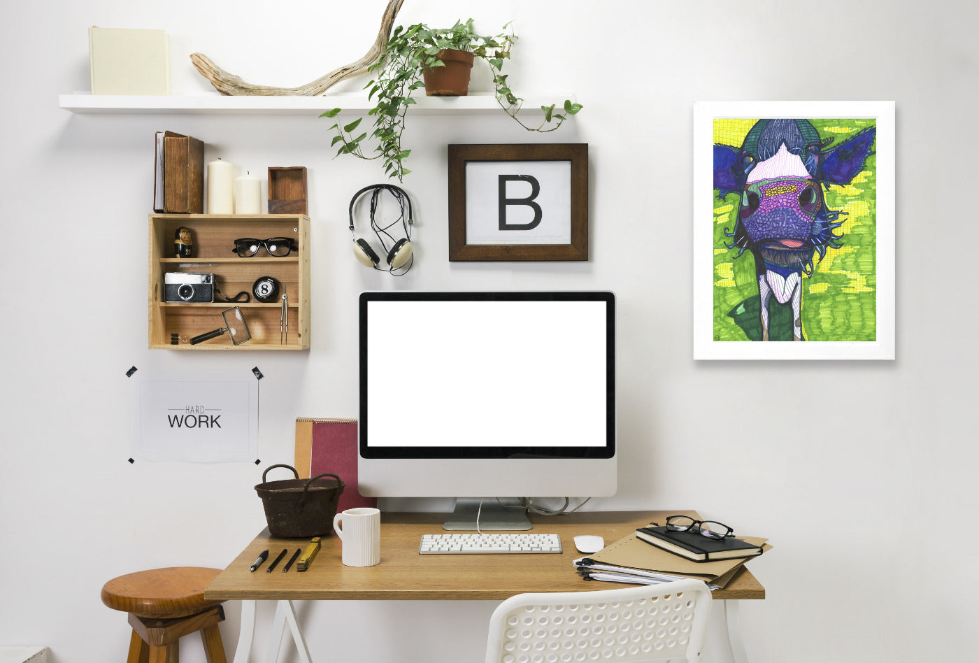 Cow In Face by Solveig Studio Framed Print - Americanflat