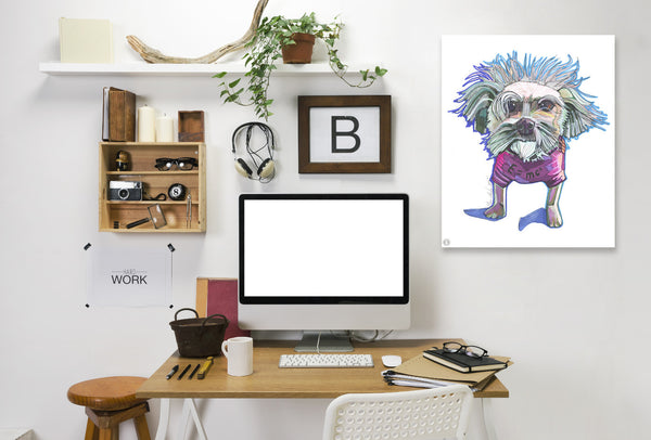 Einstein Dog Bert by Solveig Studio Wrapped Canvas