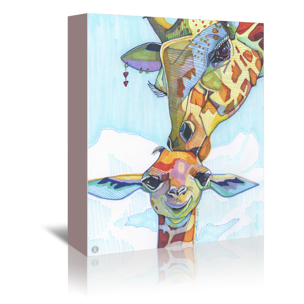 Giraffe Tina & Tiny by Solveig Studio Wrapped Canvas - Wrapped Canvas - Americanflat