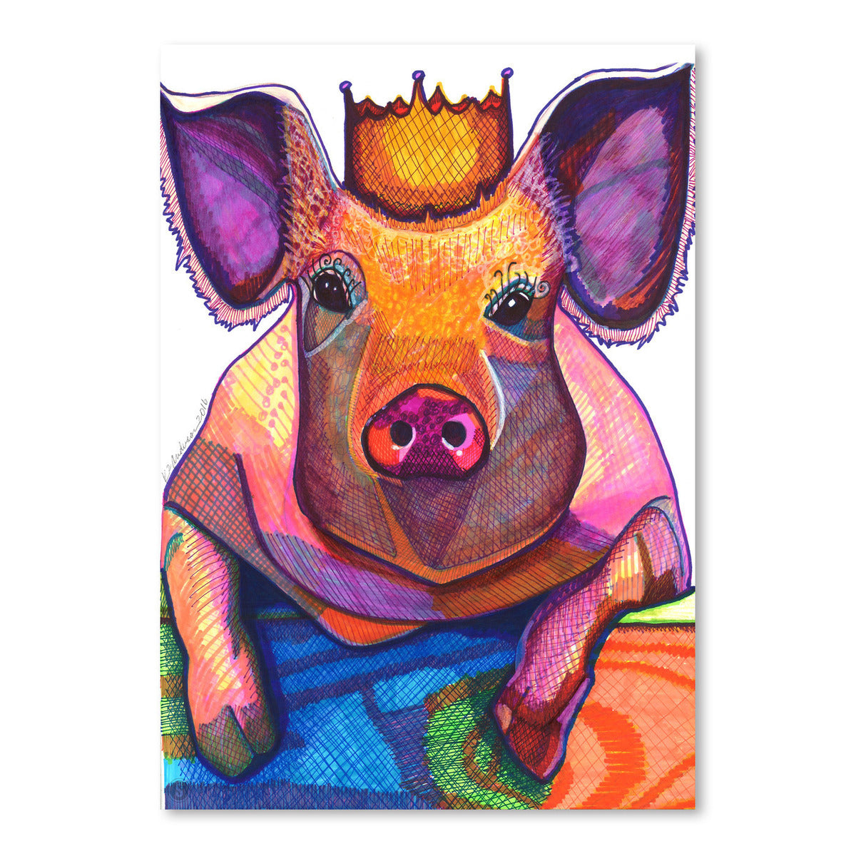 Pig With Crown by Solveig Studio Art Print - Art Print - Americanflat