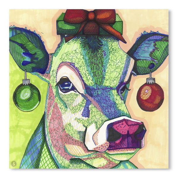 Christmas Cow by Solveig Studio Art Print