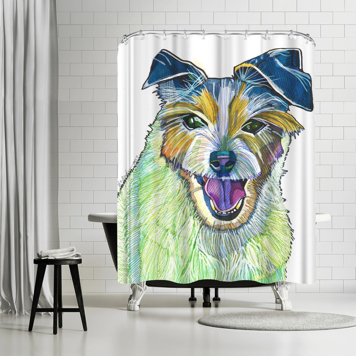 Jack Russel by Solveig Studio Shower Curtain -  - Americanflat