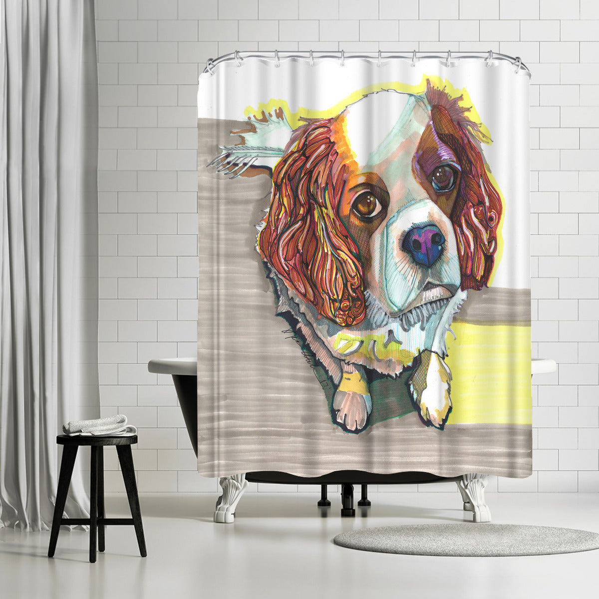 King Charles by Solveig Studio Shower Curtain