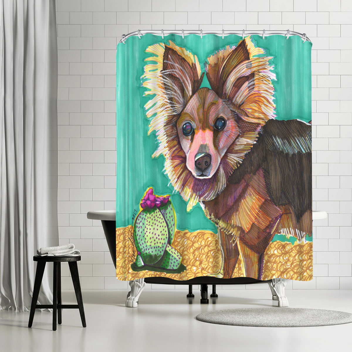 Pomeranian by Solveig Studio Shower Curtain