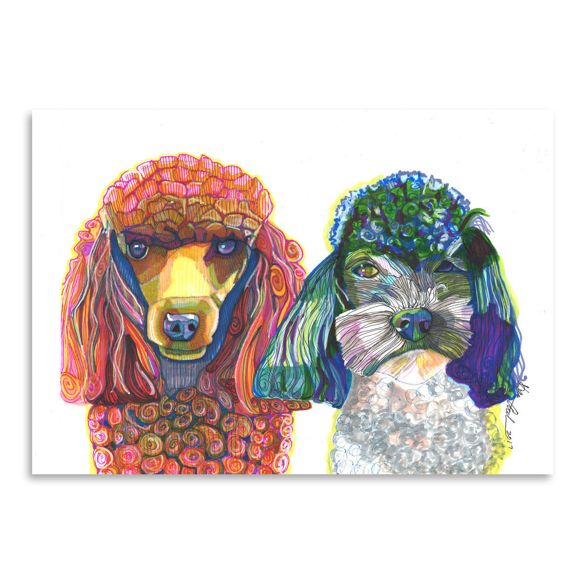 Two Toy Poodles by Solveig Studio Art Print - Art Print - Americanflat