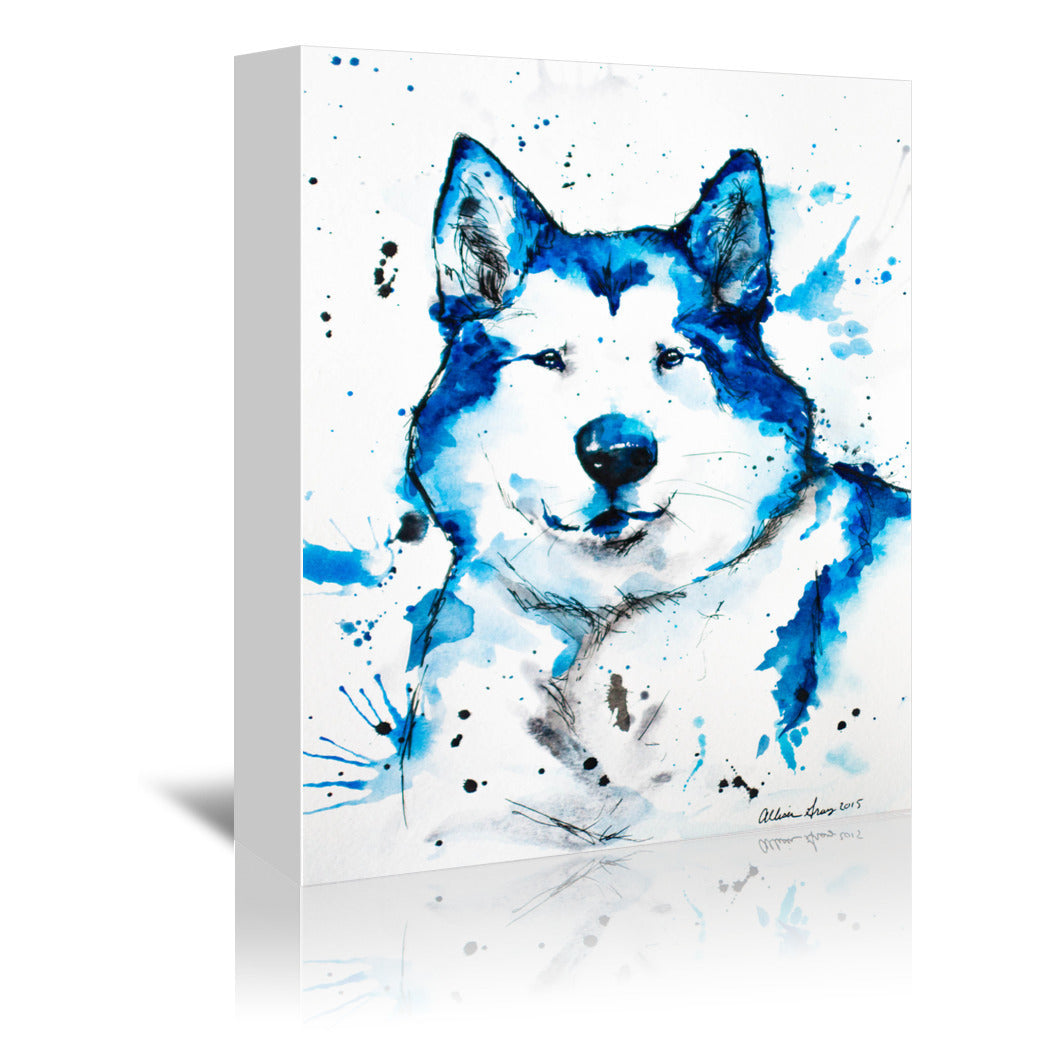 Blue Husky by Allison Gray Wrapped Canvas - Wrapped Canvas - Americanflat