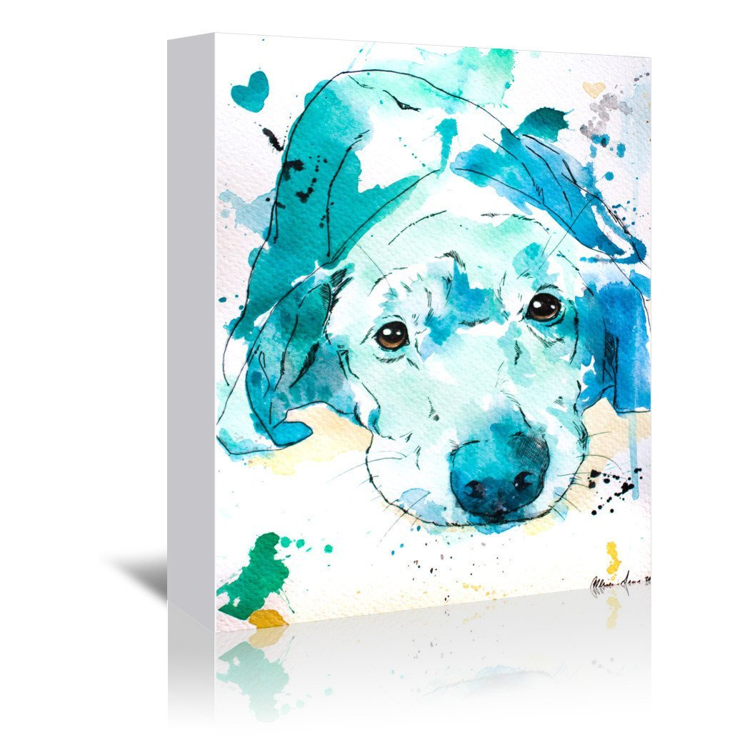 Blue Labrador Retriever by Allison Gray Wrapped Canvas - Wrapped Canvas - Americanflat