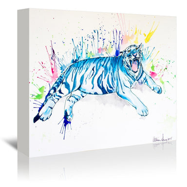 Blue Tiger by Allison Gray Wrapped Canvas - Wrapped Canvas - Americanflat