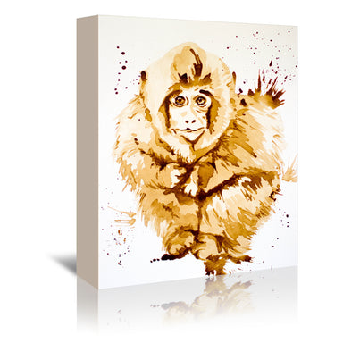 Coffee Monkey by Allison Gray Wrapped Canvas - Wrapped Canvas - Americanflat