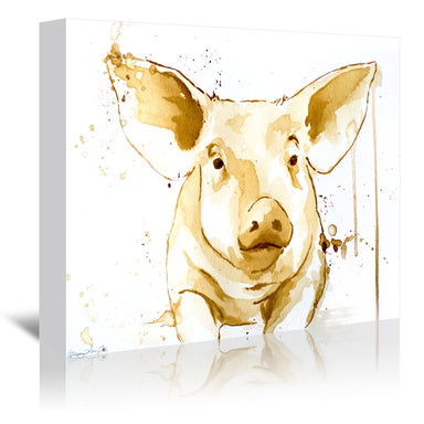 Coffee Pig by Allison Gray Wrapped Canvas - Wrapped Canvas - Americanflat