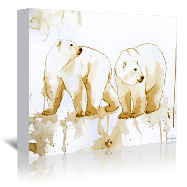 Coffee Polar Bears by Allison Gray Wrapped Canvas
