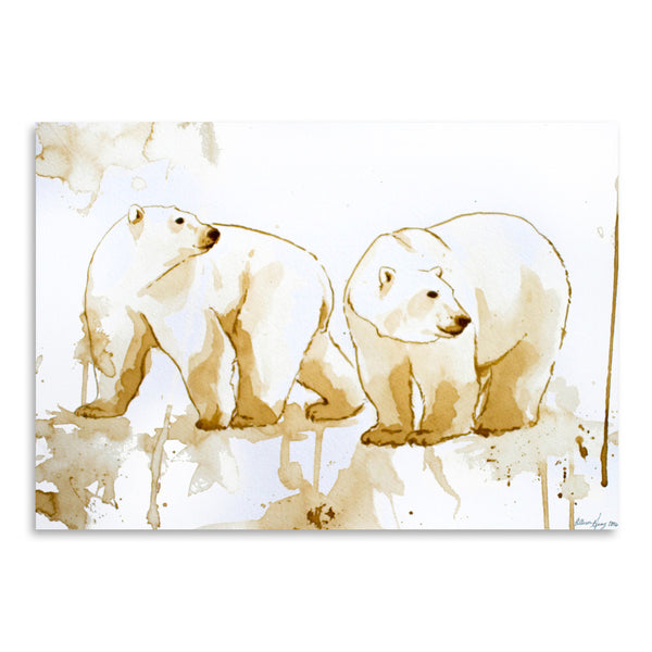 Coffee Polar Bears by Allison Gray Art Print